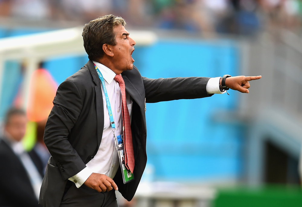 . Head coach Jorge Luis Pinto of Costa Rica  gestures before the 2014 FIFA World Cup Brazil Group D match between Italy and Costa Rica at Arena Pernambuco on June 20, 2014 in Recife, Brazil.  (Photo by Jamie McDonald/Getty Images)