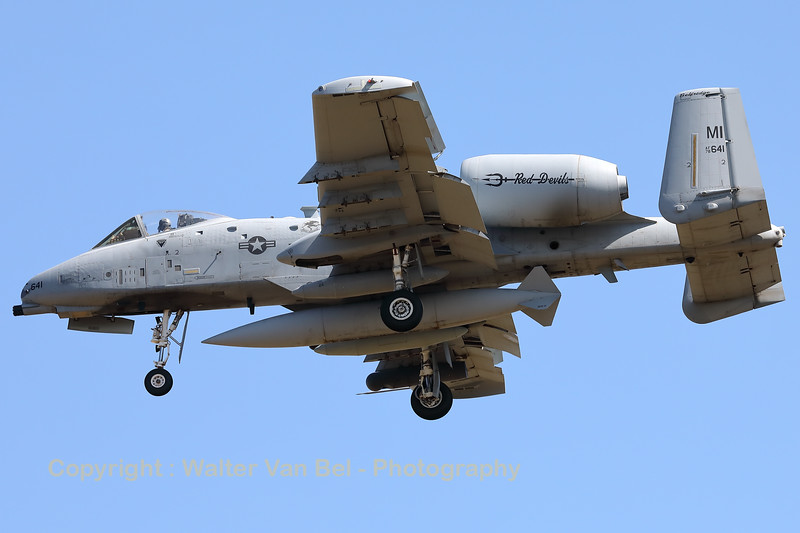"""A USAF A-10C Thunderbolt II (78-0641; cnA10-0261) is seen here on final for RWY05 at ETAD. This A-10C belongs to the 107th Fighter Squadron """"Red Devils"""", which is a unit of the Michigan Air National Guard 127th Wing. It is assigned to Selfridge Air National Guard Base, Michigan."""