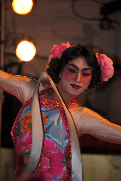 Ladyboy dancer at the Chinese New Year festivities in Chiang Mai, Thailand.