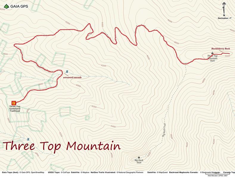 Three Top Mountain Hike Route Map