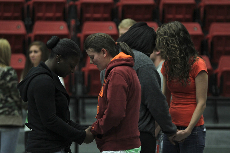 Students were invited to come forward to pray or speak with members from GWU's FCA.