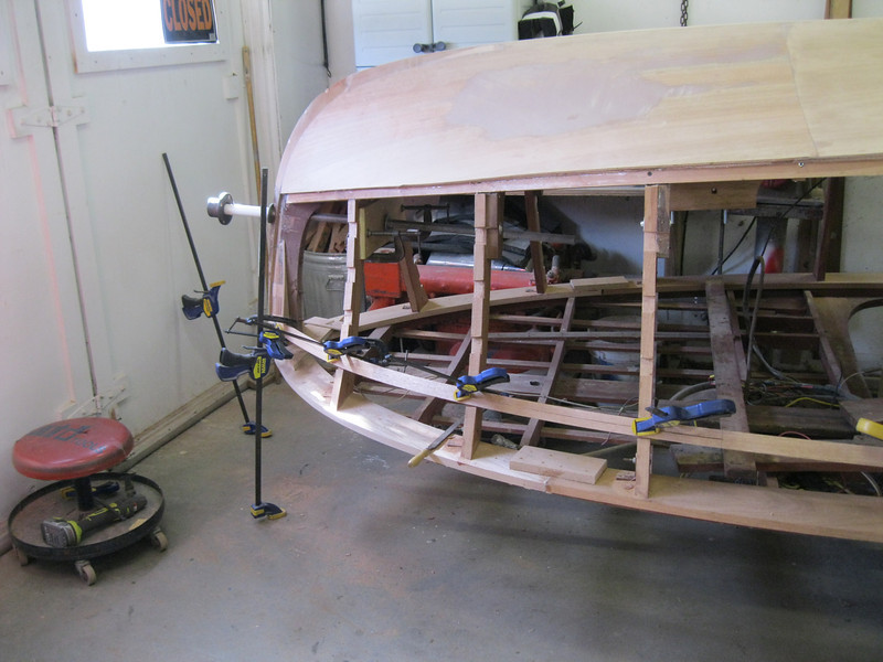 Front starboard view of starting to fit new side battens.