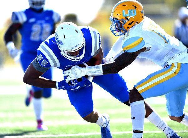 10/26/2019 Mike Orazzi | Staff CCSU's Arthur Gilmore, Jr. (80) during Saturday's football game with Long Island University in New Britain.