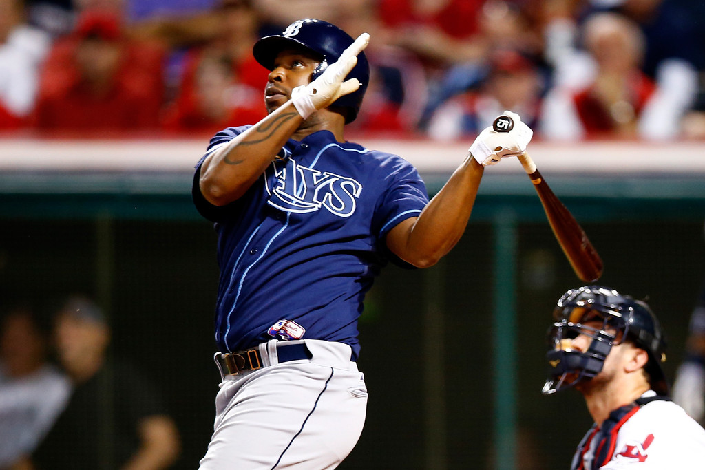 . CLEVELAND, OH - OCTOBER 02:  Delmon Young #15 of the Tampa Bay Rays watches his solo home run in the third inning against Danny Salazar #31 of the Cleveland Indians during the American League Wild Card game at Progressive Field on October 2, 2013 in Cleveland, Ohio.  (Photo by Jared Wickerham/Getty Images)