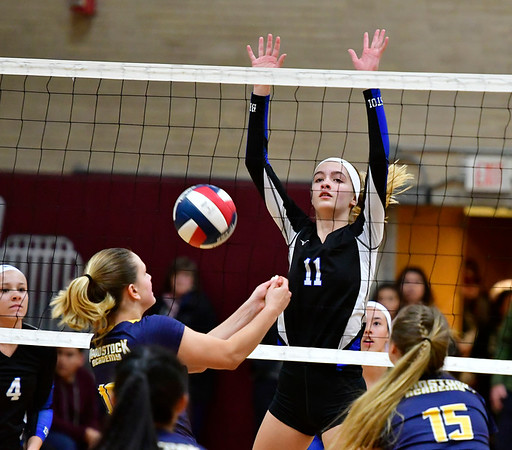 11/14/2018 Mike Orazzi | Staff Bristol Eastern's Ryley Plourde (11) during the Class L Semifinal State Girls Volleyball Tournament held at Windsor High School Wednesday night.