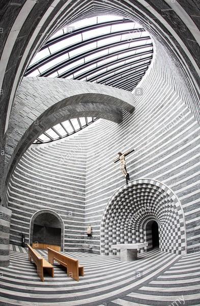 Interiors of San Giovanni Battista church, in Mogno. Source: Alamy stock photos