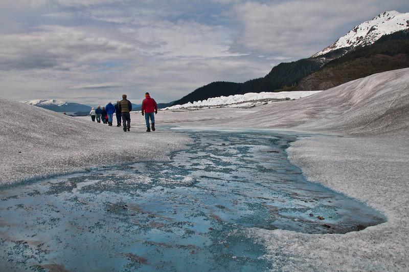 Hiking back to the base from the lake.  The blue seen here is actually frozen ice that we walked on.