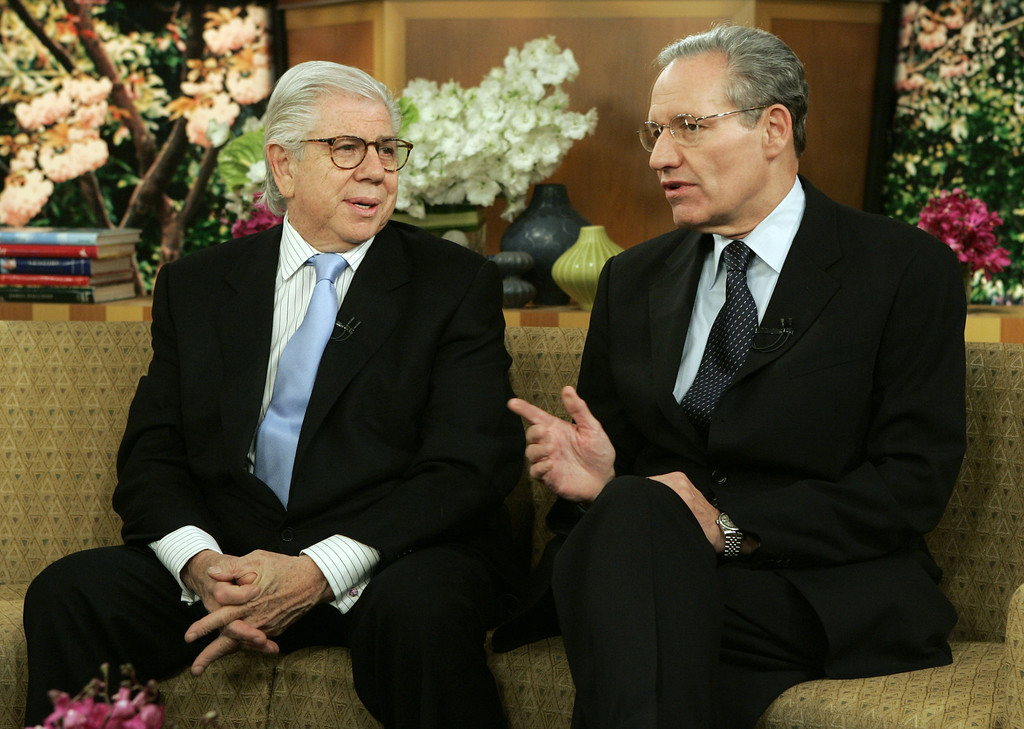 """. Watergate reporters Carl Bernstein, left, and Bob Woodward talk on the set before their appearance on the NBC-TV \""""Today\"""" program, in New York Thursdday June 2, 2005. Carl Bernstein said \""""it\'s a very strange feeling\"""" now that the Watergate source known as \""""Deep Throat\"""" has been publicly identified. (AP Photo/Richard Drew)"""