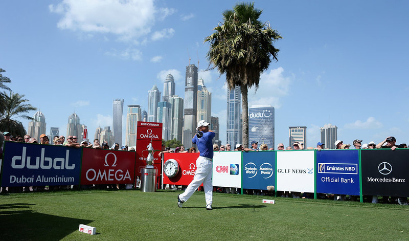 . Lee Westwood of England tees off on the first hole during the final round of the Omega Dubai Desert Classic at Emirates Golf Club on February 3, 2013 in Dubai, United Arab Emirates.  (Photo by Warren Little/Getty Images)