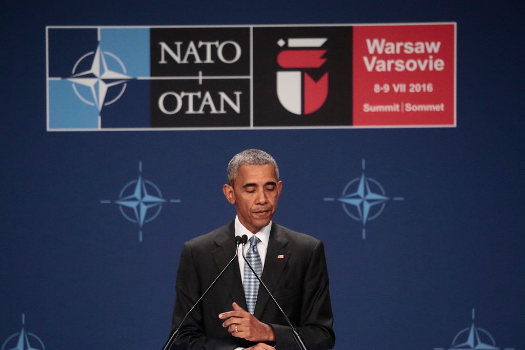 . United States President Barack Obama addresses the media during a news conference at the NATO summit in Warsaw, Poland, Saturday, July 9, 2016. U.S. President Barack Obama and other NATO leaders attended a second day of a summit meeting in Warsaw expected to lead to decisions about Afghanistan, the central Mediterranean and Iraq. (AP Photo/Markus Schreiber)