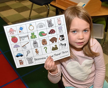 Kindergarten Works On Beginning Sounds photos by Gary Baker
