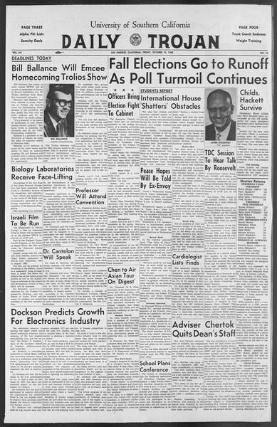 Daily Trojan, Vol. 54, No. 15, October 12, 1962