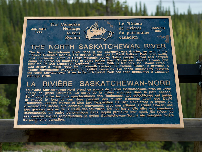 Close-up of information signboard, North Saskatchewan River, Canadian Heritage Rivers System, Icefields Parkway, Jasper, Alberta, Canada