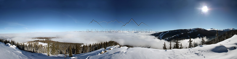 Panorama of an Inversion to the Gore Range from McCoy Peak, CO