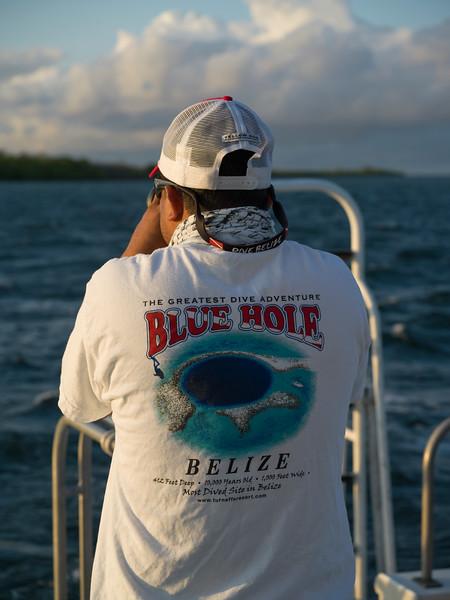 Man on boat, Belize