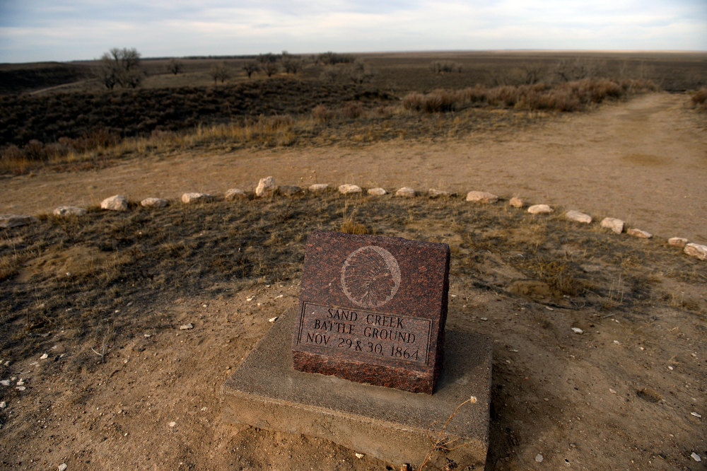 . A monument marker sits on an overlook that greets visitors of the Sand Creek Massacre National Historic site in Kiowa County near Eads Colorado November 28th. 2012. On November 29th, 1864, Colorado militiamen killed over 150 Cheyenne and Arapaho Indians on the site who were living peacefully along the creek in their village. The Denver Post/ Andy Cross