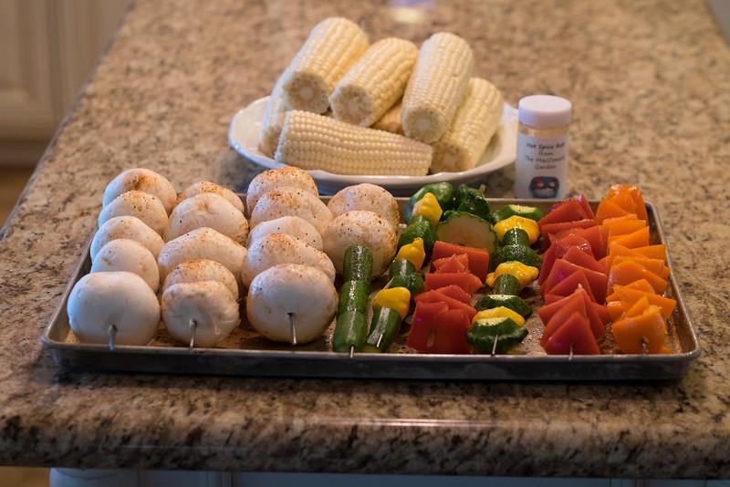 Second use: Steak, veggies, corn on the cob and shrimp.