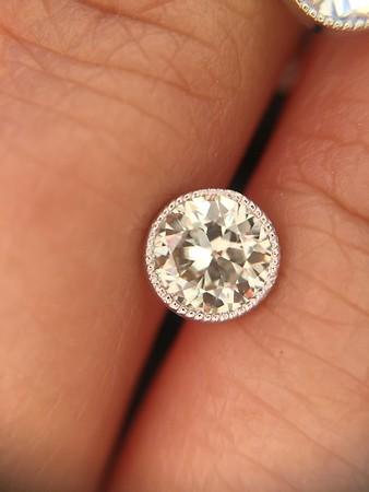 0.93ctw Old European Cut Diamond Diamond Bezel Studs