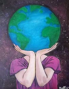 """I've Got The Whole World In My Hands"" (acrylic) by Megan Charron"