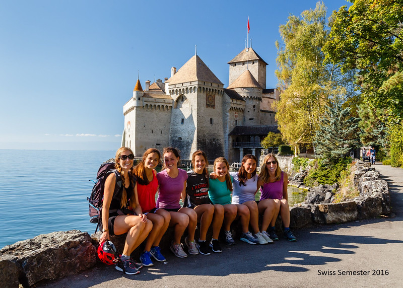 The Vineyard bike trip in front of Chateau Chillon