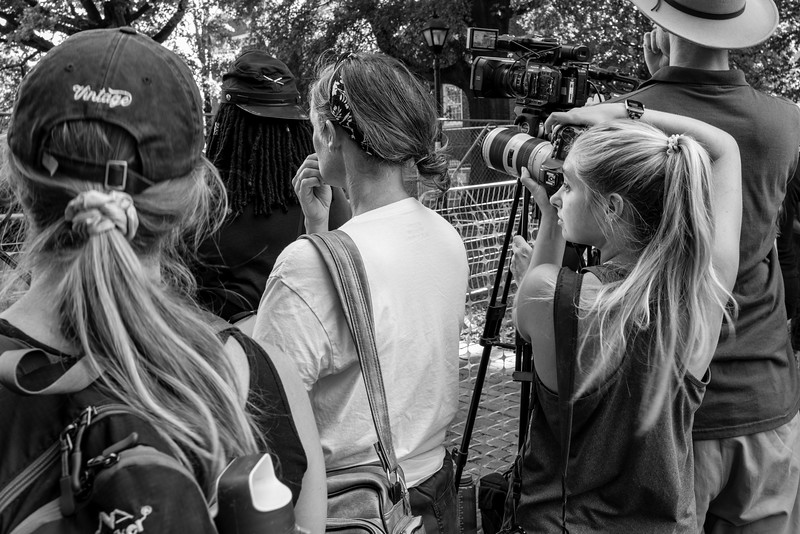 Members of the media record the removal of the Stonewall jackson statue in Charlottesville, Virginia.