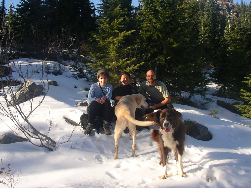 Me, Kim, and Jeff, and Jake and Gypsy, on a hike in November. 2004?