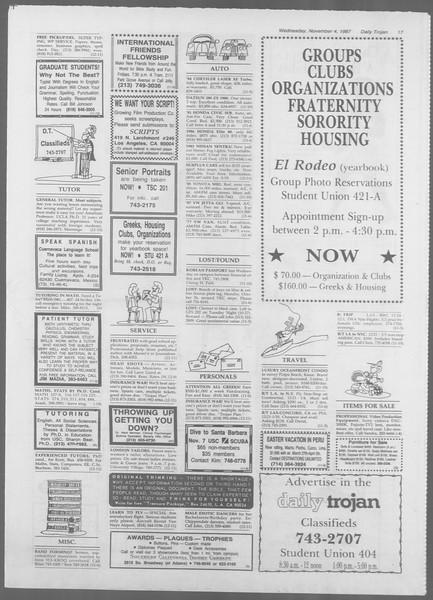 Daily Trojan, Vol. 105, No. 44, November 04, 1987