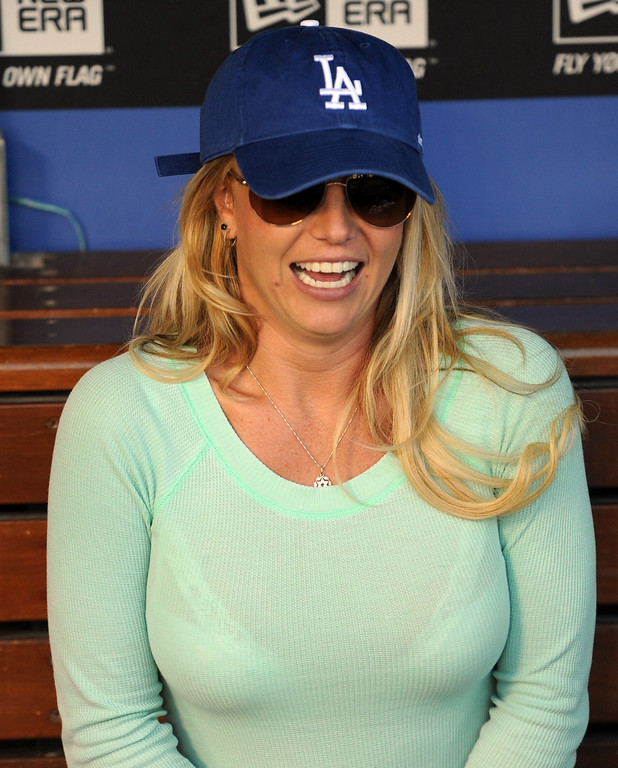 . Singer Brittany Spears prior to a baseball game between the San Diego Padres and the Los Angeles Dodgers on Wednesday, April 17, 2013 in Los Angeles.   (Keith Birmingham/Pasadena Star-News)