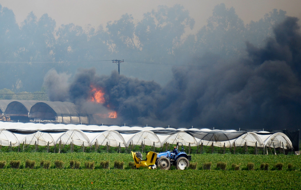 . A strawberry farm catches on fire near the California State University Chanel Islands on May 2, 2013 in Camarillo, California.   (Photo by Kevork Djansezian/Getty Images)