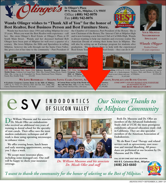 Advertisement in Milpitas Post Top 100 Issue - Dr. Mussone