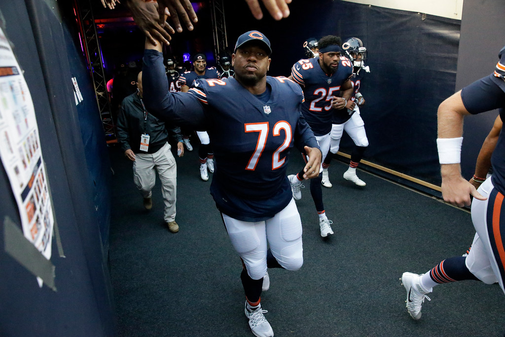 . Chicago Bears tackle Charles Leno (72) before an NFL football game against the Cleveland Browns, Thursday, Aug. 31, 2017, in Chicago. (AP Photo/Nam Y. Huh)