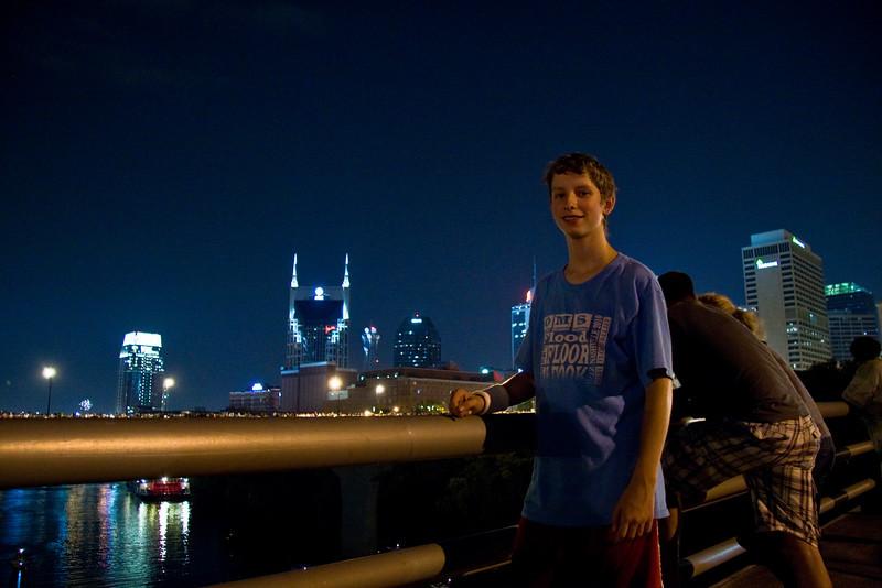 Joshua on the James Robertson Parkway bridge, Nashville, July 4th, 2010.