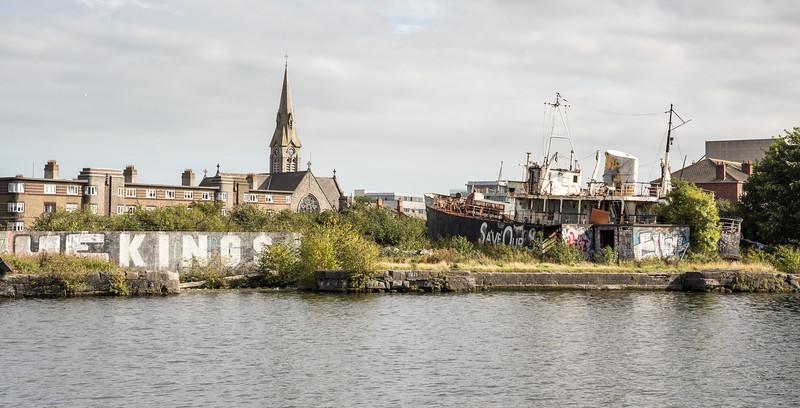Derelict boat in Dublin Docklands