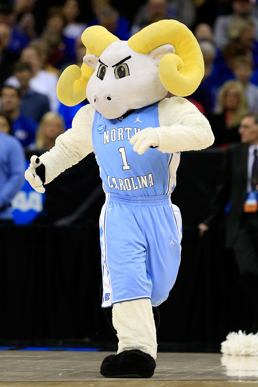. KANSAS CITY, MO - MARCH 22: Rameses, the mascot for the North Carolina Tar Heels, performs in the first half against the Villanova Wildcats during the second round of the 2013 NCAA Men\'s Basketball Tournament at the Sprint Center on March 22, 2013 in Kansas City, Missouri.  (Photo by Jamie Squire/Getty Images)