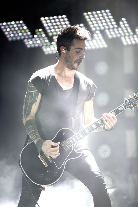 Description of . Josh Eustis of Nine Inch Nails at The Palace of Auburn Hills. Photo by Ken Settle