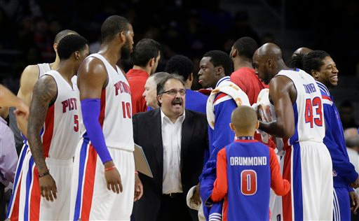. Detroit Pistons head coach Stan Van Gundy talks to his team during the second half of an NBA basketball game against the Cleveland Cavaliers, Tuesday, Feb. 24, 2015 in Auburn Hills, Mich. Cleveland defeated the Pistons 102-93. (AP Photo/Carlos Osorio)