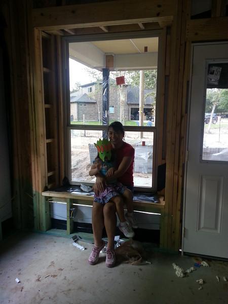 The window bench in the kitchen/breakfast nook