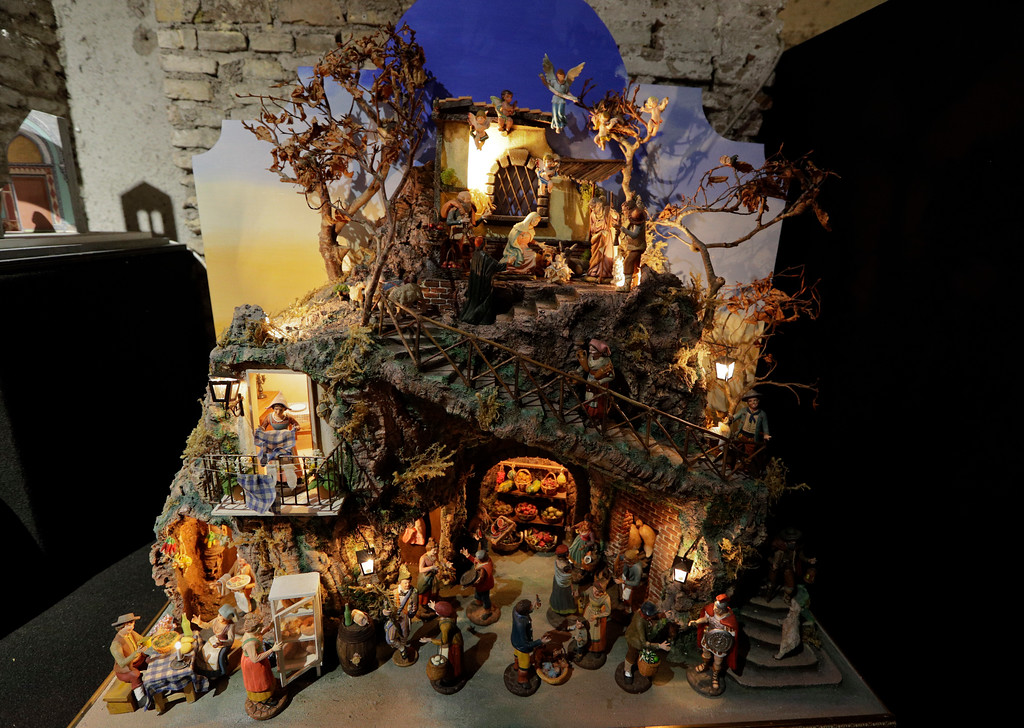 ". A traditional Italian nativity scene is displayed at the ""100 Presepi\"", 100 nativity scenes exhibition, in Rome, Thursday, Nov. 23, 2017. The exhibition, consisting in 152 nativity scenes from all Italian regions and 40 other countries, will be visible over the Christmas festivities. (AP Photo/Andrew Medichini)"