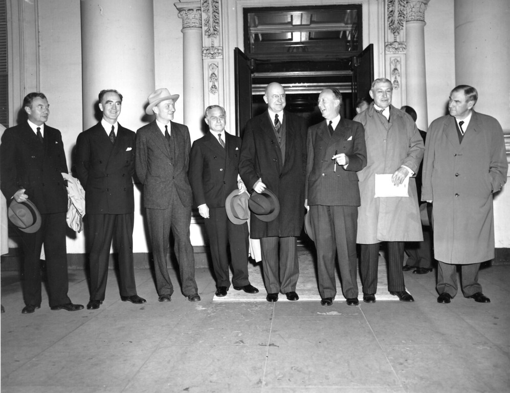 . The U.S. Supreme Court, reduced to eight men due to the recent resignation of James F. Byrnes, is seen gathered at the White House, in Washington, October 13, 1942. From left are : associate justices Robert E. Jackson, Frank Murphy, William Douglas, Felix Frankfurter, Stanley Reed, Hugo Black, Owen J. Roberts and Chief Justice Harlan Stone.  (AP Photo)