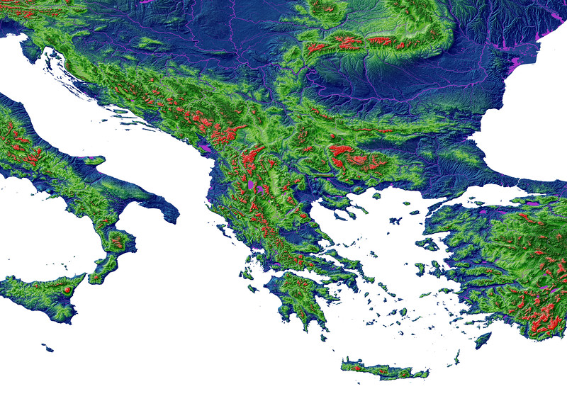 Elevation map of the Balkans