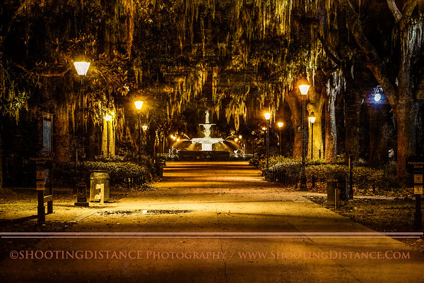 Forsyth Park, Savannah, GA, at night
