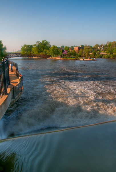 June, 20 : The weir on the Fox River in Elgin