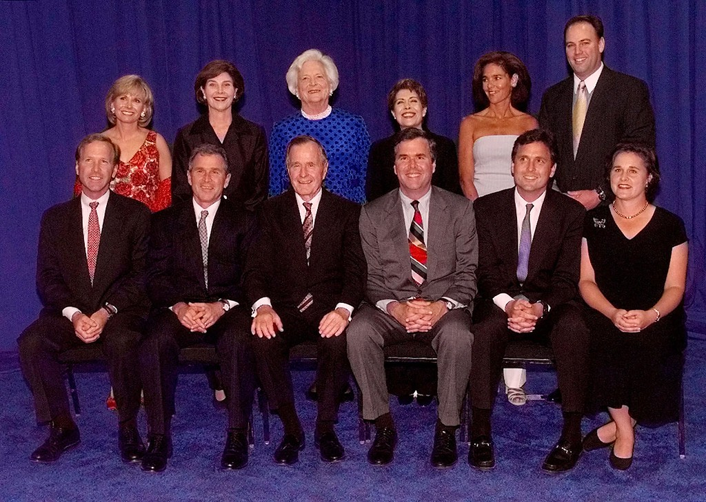 . The Bush family poses for a photograph during a birthday celebration for former President and first lady George and Barbara  Bush Thursday, June 10, 1999 in Houston. Seated, from left to right, Neil Bush, Texas Gov. George W. Bush, former President George Bush, Florida Gov. Jeb Bush, Marvin Bush, Dorothy Koch. Standing, left to right, Sharon Bush, Laura Bush, former first lady Barbara Bush, Columba Bush, Margaret Bush and Bobby Koch. (AP Photo/David J. Phillip)