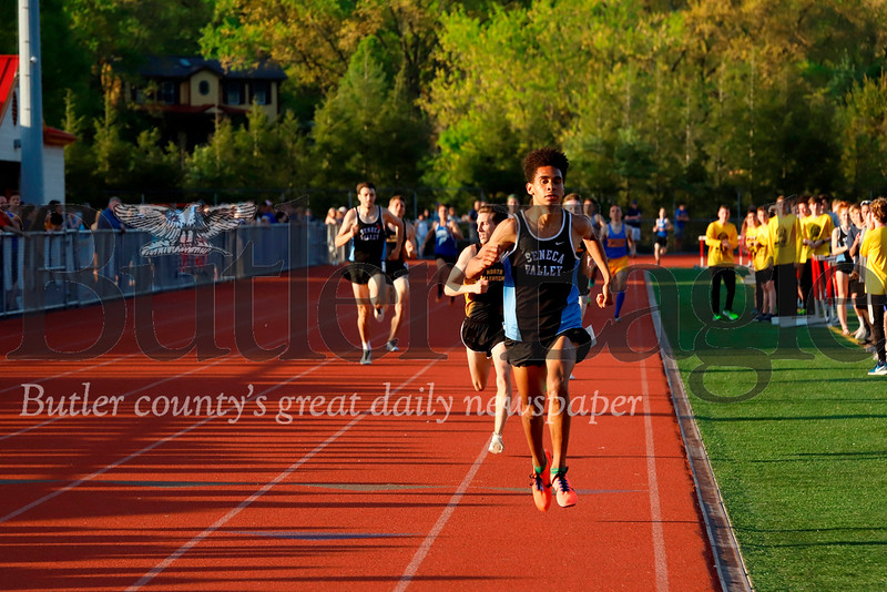 Seneca Valley's Sam Owori pushes down the stretch to a first place finish in the 800. Seb Foltz/Butler Eagle