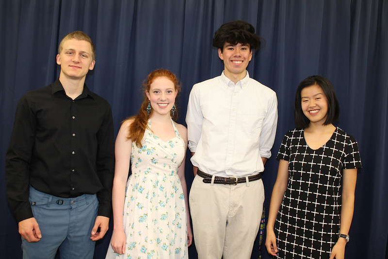 From left to right: Ulster BOCES Career & Technical Center Valedictorian from New Paltz High School (NPHS) Steven Scribani, NPHS Salutatorian Stephanie Stewart-Hill, NPHS Valedictorian Joshua Berry, and NPHS Principal's Award recipient Mia DiMaio.