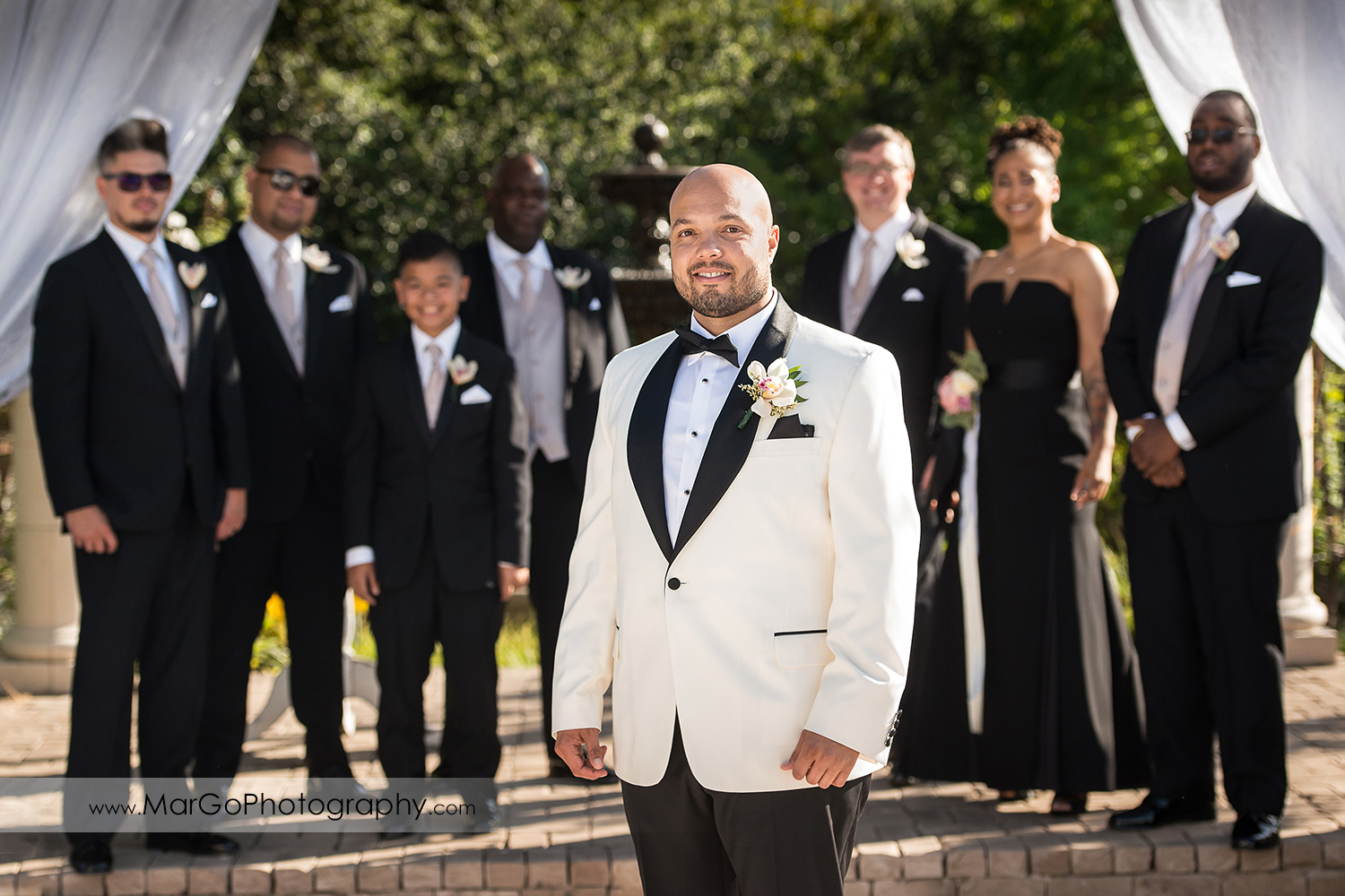 groom and groomsmen at Sunol's Casa Bella