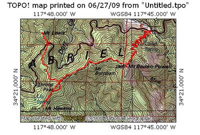 Mt Lewis / Throop Peak / Mt. Hawkins / Mt. Baden-Powell - June 27, 2009