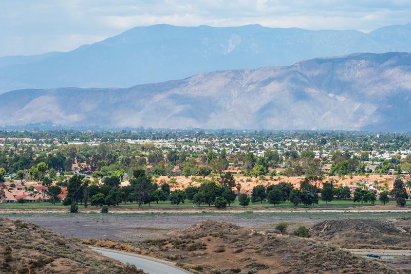 The suburban sprawl of Hemet outside Diamond Valley Lake.