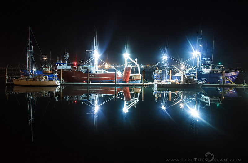 Reflections at the Dock This is from one of the docks at Newport, OR. Was real glad we took that turn to take a break, as we were heading back to Portland. The initial intent was to get a 5 mins break, but ended up spending a good hour and half walking / shooting at this dock. It was such a cold (in a good way) and calm evening. I have never in my life seen a dock that was so still. Pretty stroked at how sharp this turned-out right out of camera, especially with an exposure of 30 seconds !