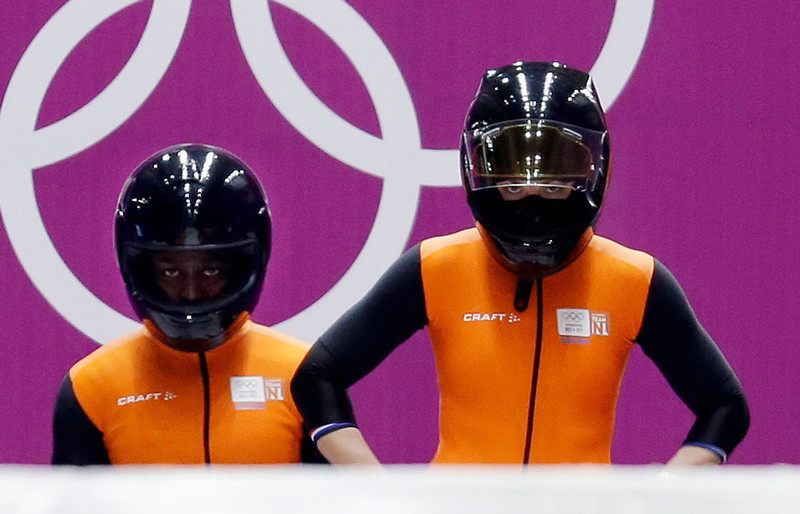 . The team from the Netherlands NED-1, piloted by Esme Kamphuis with brakeman Judith Vis, prepare to start their third run during the women\'s bobsled competition at the 2014 Winter Olympics, Wednesday, Feb. 19, 2014, in Krasnaya Polyana, Russia. (AP Photo/Natacha Pisarenko)